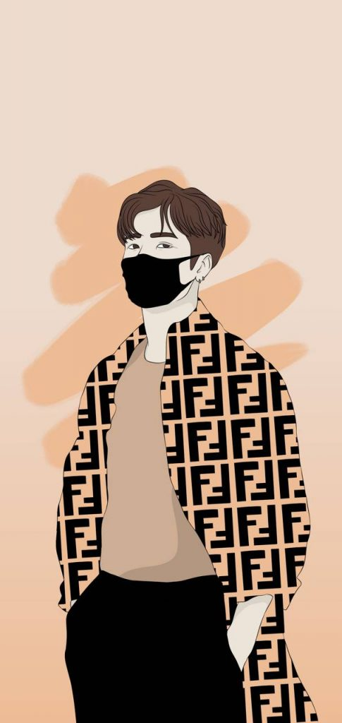 Wallpaper Background Anime-Art-Celebrity-Drawing-Got7-Jackson-Wang-Kpop-Singer
