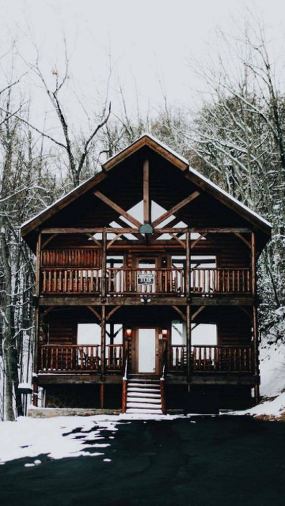 Cabin-Camping-Home-Landscape-Winter-Woods Wallpaper Background